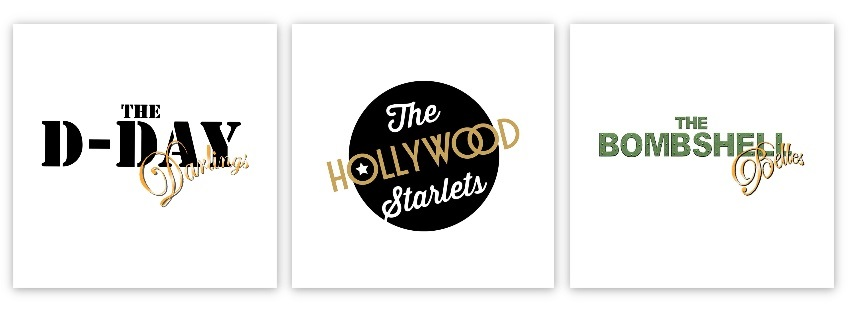 D-Day Darlings, Hollywood Starlets, Bombshell Belles logo banner